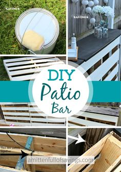 Got some extra wood pallets laying around and not sure what to do with them- check out this wood pallet DIY for DIY Patio Bar Made Out Of Wood Pallets Bar Table Diy, Diy Bar, Bar Tables, Dining Table, Patio Bar, Diy Patio, Patio Ideas, Pool Bar, Patio Table