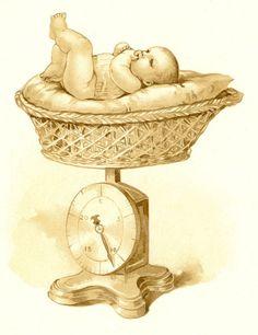 Weighing Baby - Vintage Baby Book Page ~ Álbum de imágenes para la inspiración (pág. 93) | Aprender manualidades es facilisimo.com