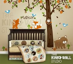 Children Wall Decal Vinyl Wall Sticker tree decal - Forest Friends with custom…