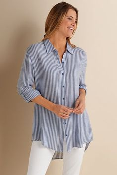 Soft and versatile, our New Haven Shirt has cute long button-cuff sleeves and a longer-in-back hem.