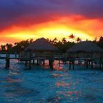 Over the water bungalows in Bora Bora