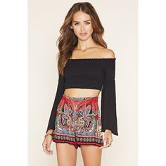 Forever 21 Women's  Patrons of Peace Floral Shorts ($32) ❤ liked on Polyvore featuring shorts