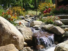 DeClark's Landscaping Stone Features with Waterfall in Romeo, Michigan.