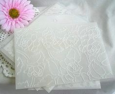 Vellum Envelopes Clear Embossed Vintage Handmade Shabby Chic Wedding Invitaion Envelopes A7 Size 10 Piece Set