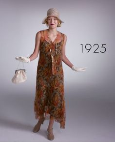 Pin for Later: Watch 1 Woman Wear 100 Years of Fashion Trends in 2 Minutes 1925