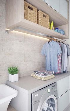 50 Small Laundry Room Design Ideas to Try Who says that having a small laundry room is a bad thing? These smart small laundry room design ideas will prove them wrong. Laundry Design, Hanging Clothes, Laundry Room Update, Laundry In Bathroom, Room Design