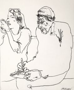 Woman putting on makeup and a man doing crossword puzzle on the downtown 1 subway train, nyc. Charcoal on paper by Gregory Muenzen