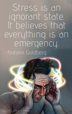 Quote on anxiety: Stress is an ignorant state. It believes that everything is an emergency.   www.HealthyPlace.com