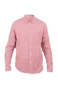 Folk - Printed Elbow Patch Shirt - Large Red Gingham