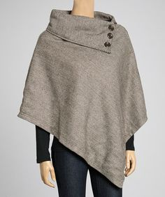 Take a look at this Brown & White Herringbone Poncho by Ella Samani on #zulily today!