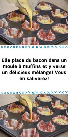She places bacon in a muffin pan and pours a delicious mixture! You will salivate! Bacon Quiche, Cuisine Diverse, Christmas Brunch, Cinnamon Cream Cheeses, Bear Cakes, Appetisers, Pumpkin Spice, Food Videos, Food And Drink