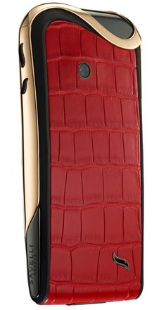 Savelli red alligator google android smartphone 18kt rose gold #luxury