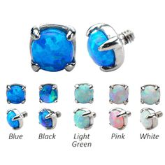 Synthetic Opal 316L Steel Dermal Tops with M1.2 threading - 5 Colors and 2 Sizes to Choose - SPO35