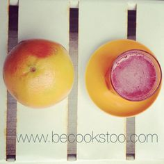 Great start of the week: the lovely grapefruit and pink veggie juice (beet, apple, cucumber, celery,ginger) www.becookstoo.com