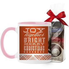 Bright Merry Christmas Mug, Pink, with Ghirardelli Premium Hot Cocoa, 11 oz, Orange
