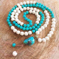 Turquoise necklace mala blue boho necklace turquoise 108