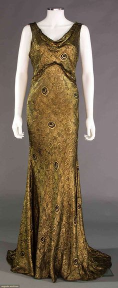 BLACK & GOLD LAME EVENING GOWN, 1930s