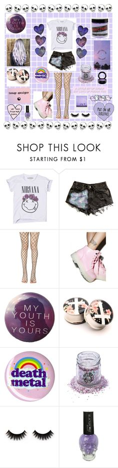 """Pastel grunge"" by ellafourni3r ❤ liked on Polyvore featuring Leg Avenue, Hot Topic, Disco Dust London, Manic Panic NYC, GET LOST and MAC Cosmetics"