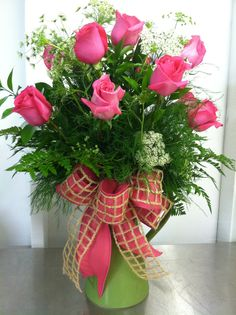 Pink Roses in Green Pitcher
