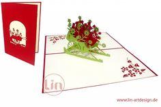 Aufklappbare POP UP Geburtstagskarte mit Blumenwagen in Rot. Mehr entdecken auf: www.lin-popupkarten.de Pop Up Karten, Playing Cards, Holiday, Birth, Red, Flowers, Wedding, Playing Card Games, Game Cards
