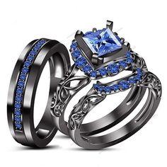 4/5 CT 14k Black Gold Fn Blue Sapphire Princess Engagement Band Trio Ring Set…