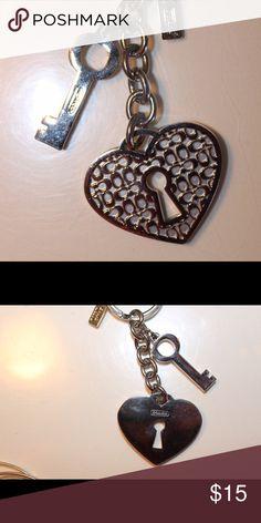 Coach heart lock & key keychain Silver Coach keychain. heart lock with key. Coach Other