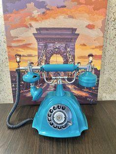 USSR retro phone 1987,Parma phone,Vintage phone,Dial telephone,Stylish telephone,Turquoise phone,Soviet desk telephone,Green phone,Homephone Retro Phone, Vintage Phones, Fur Accessories, Telephone, Landline Phone, Phone, Vintage Telephone