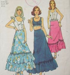 Short Top Long Skirt Pattern Fitted Crop Boho by WildPlumTree, $4.00