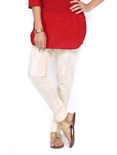 Buy Folklore Women Cream Coloured Churidar Pants - 387 - Apparel for Women - 397018