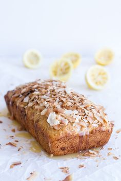 Toasted Coconut Lemon Bread with Salted Honey Butter. - Half Baked Harvest