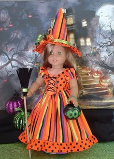 Wicked Cute Witch for American Girl Dolls by MyGirlClothingCo American Girl Crochet, American Girl Crafts, American Doll Clothes, Girl Doll Clothes, Doll Clothes Patterns, Girl Dolls, Ag Dolls, Girl Clothing, American Girls