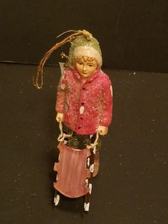 """Bethany Lowe Christmas Ornament Boy Carrying Sled 5"""" NOS #BethanyLowe"""