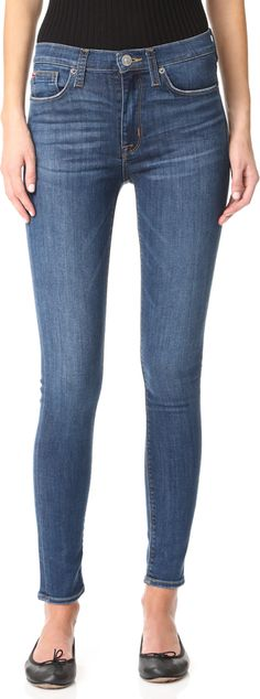 $195 - Hudson Barbara High Waisted Skinny Jeans - Faded whiskering cuts through the wash on these high-rise Hudson skinny jeans. 5-pocket styling. Button closure and zip fly. Fabric: Stretch denim. 78% cotton/15% lyocell/5% polyester/2% elastane. Wash cold. Imported, Mexico. Measurements Rise: 9.75in / 25cm Inseam: 30in / 76cm Leg opening: 9.5in / 24cm Measurements from size 27