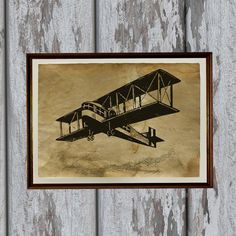 Antique airplane print on handmade antique style old paper.  Beautiful 8.3 x 11.7 (A4) antiqued decoration for your home and office.  Paper for each