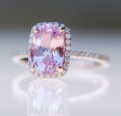 http://rubies.work/1024-sapphire-ring/ Pink sapphire ring engagement ring 2.33ct Cushion by EidelPrecious