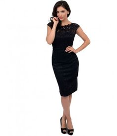 Consider Blanche the perennial belle of the ball! A stunning all over black wiggle dress fresh from Unique Vintage, comp...Price - $128.00-2KCVronZ