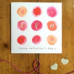 Watercolour Circles I Love U Valentine's Day Card