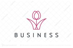 Logo for sale: Monoline Tulip Logo Simple and modern elegant tulip logo. young luxury tulip florist souvenir shop flower hotel motel resort logo logos gift store