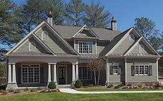 Plan W15681GE: Sloping Lot, Corner Lot, Photo Gallery, Luxury, Southern, Premium Collection, Craftsman, Traditional House Plans & Home Designs (love this with bigger pillars)