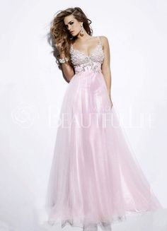 $190.99Charming Pink Satin Spaghetti Straps Embroidery A-Line Evening Dress  #Pink #Evening #Dress