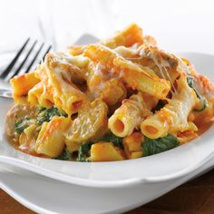 Pumpkin and Spinach Baked Ziti. I think I'd use chicken and not sausage though. I'm pretty intrigued by the idea of pumpkin and pasta...
