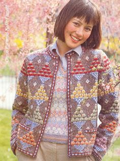 Kaffe Fassett Citrus Pyramids Cardigan in Vintage Rowan Light Tweed and DK Wool