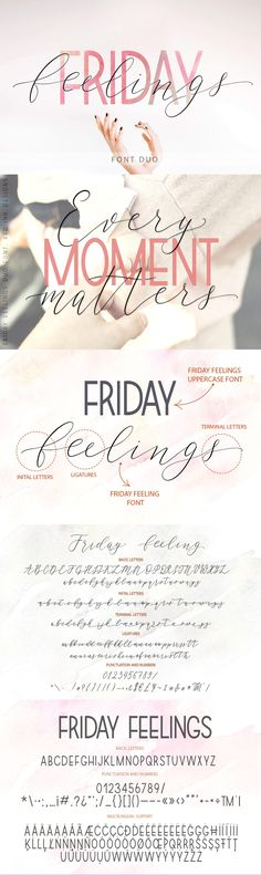 Friday feelings. Font Duo.  by Red Ink on @creativemarket   Friday Feelings is a beautiful  gentle pair of script and sans serif fonts. Modern, expressive; perfectly combined typographic harmony is perfect for posters, greeting cards, t-shits, branding materials, quotes and any other amazing projects you are working on.   #font #script #friday #classic #decorative *affiliate