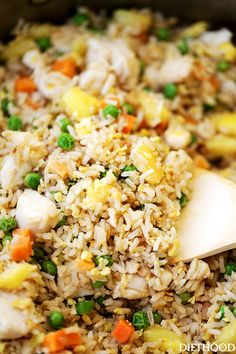 Easy Chicken Fried Rice - This Chicken Fried Rice is so much better than takeout, and you won't believe how easy AND quick it is to make! // on diethood.com