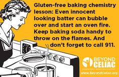 Gluten-free baking chemistry lesson: Even innocent looking batter can bubble over and start an oven fire. Keep baking soda handy to through on an oven fire. And don't forget to call 911.