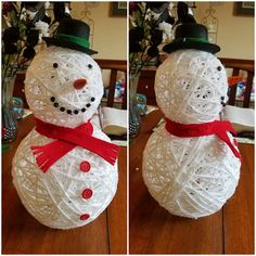 """This darling little yarn snowman was made by Michelle Pickett…isn't he cute?! She shares her tutorial with us today… """"I used 2 balloons inflated. I then dipped white yarn into a Elmer's glue mixed with a small amount of water. I ran the string through my fingers to remove some of the glue. I then …"""