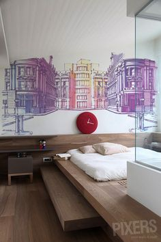 perspective, buildings, wallpaper, wall decal