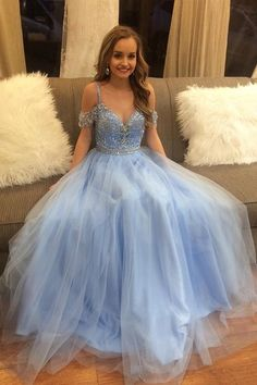 Gorgeous Beading Blue Tulle Long A Line Puffy Prom Dress,Graduation Dress G138