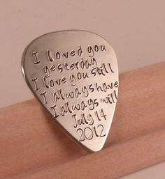 Love quotes Guitar Pick-Perfect Gift for a Grooms Wedding gift-husband-boyfriend-bridesmaid. $20.00, via Etsy.