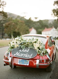 The cutest getaway car: http://www.stylemepretty.com/california-weddings/sausalito/2015/10/06/elegant-late-summer-wedding-at-cavallo-point/ | Photography: Josh Gruetzmacher - http://www.joshgruetzmacher.com/